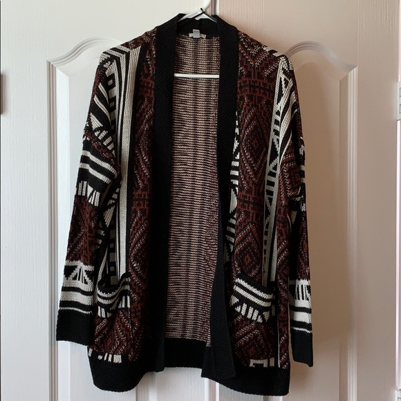 Ecote Sweaters - Maroon and Black oversized sweater